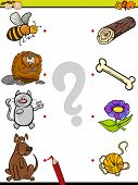 picture of brain-teaser  - Cartoon Illustration of Education Element Matching Game for Preschool Children with Animals - JPG