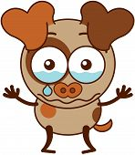 image of dog ears  - Cute brown dog in minimalistic style with big hanging ears - JPG