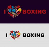 stock photo of boxing  - Symbol of the heart of boxing gear - JPG
