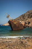 foto of shipwreck  - Scenic image of shipwreck Amorgos Cyclades Greece - JPG