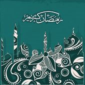 foto of ramadan calligraphy  - Creative artistic design with mosque made by beautiful floral design - JPG