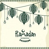 picture of ramadan mubarak card  - Floral Arabic lanterns and stars decorated greeting card for Islamic holy month of prayer - JPG