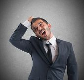 image of scream  - Crazy businessman stressed out from work screams - JPG