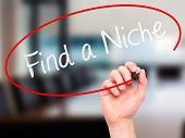 stock photo of niche  - Man Hand writing Find a Niche with marker on transparent wipe board - JPG