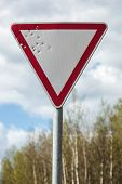 image of bullet  - Road sign pierced with bullets - JPG