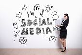 stock photo of wall cloud  - Social Media concept  - JPG