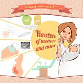 stock photo of zygote  - Vector illustration of a female doctor with a newborn baby - JPG
