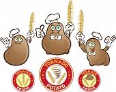 pic of potato chips  - Vector illustration of potato characters with spiral potatoes chips sticks in hand and labels - JPG