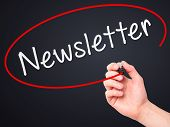 picture of newsletter  - Man Hand writing Newsletter on visual screen - JPG