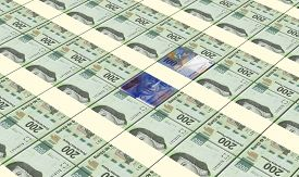 image of pesos  - Swiss franc with mexican pesos bills stacks background - JPG
