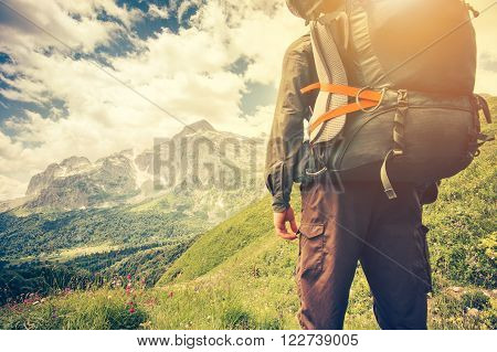 poster of Traveler Man with backpack mountaineering Travel Lifestyle concept mountains on background Summer trip vacations outdoor