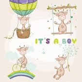 Постер, плакат: Baby Giraffe Set Baby Shower or Arrival Card in vector