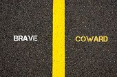 Antonym Concept Of Brave Versus Coward poster