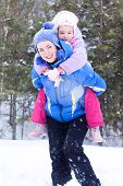 foto of luge  - Happy Mother And Daughter - JPG