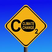 warning Climate change CO2 emissions sign illustration