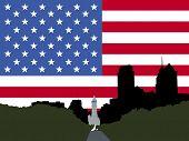 Постер, плакат: Сити Холл и Бенджамин Франклин Паркуэй Филадельфия с американским флагом JPG