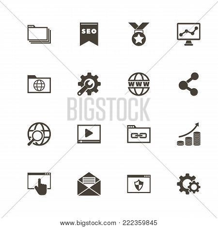 poster of Seo icons. Perfect black pictogram on white background. Flat simple vector icon.