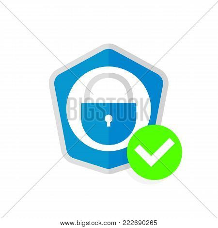poster of Abstract security vector icon illustration isolated on white background. Shield security icon. Lock security icon.