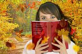stock photo of girl reading book  - Woman reading a book  - JPG