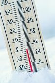 Thermometer On Snow Shows Low Temperatures Under Zero. Low Temperatures In Degrees Celsius And Fahre poster