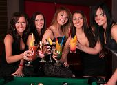 stock photo of hen party  -  Group of happy girls drinking cocktails - JPG