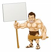 foto of loin cloth  - A cartoon illustration of a muscular caveman holding a sign - JPG
