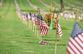 stock photo of punchbowl  - A row of flags on Memorial Day at the  Punchbowl National Cemetery on the Island of Oahu in Hawaii - JPG