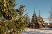 Traditional Russian Wooden Church Of The Resurrection From Village Of Patakino. poster