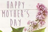 Happy Mothers Day Text Sign, Simple Greeting Card. Happy Mothers Day. Beautiful Lilac Flowers On Ru poster