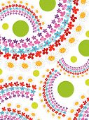 Rainbow Spring Flowers And Dots (Vector) - Illustrated Background Pattern