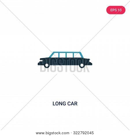 poster of long car icon in two color design style.