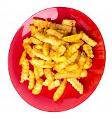 French Fries On A Red Plate Isolated On White Background.french Fries On A Plate Top Side View .junk poster