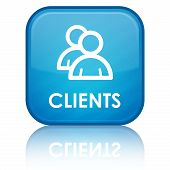pic of clientele  - Clients icon with text on blue glossy square button - JPG