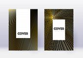 Hipster Cover Design Template Set. Gold Abstract Lines On Black Background. Captivating Cover Design poster
