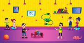 Cartoon Boys Hold Remote Control Of Robot Toy Vector Illustration. Kid Robotics Engineering, Program poster
