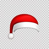 Santa Claus Hat 3d. Realistic Santa Claus Hat Isolated White Transparent Background. Red Funny Cap S poster