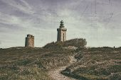 Noisy , Vintage Style Image Of A Footpath Leading To The Lighthouse From Cap De Frehel On Armor Coas poster