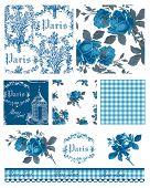 Постер, плакат: Красивые парижские тематические цветочные векторных бесшовные Шаблоны и значки Великая для текстильных проектов или копать