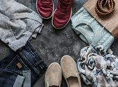 Womens Clothing On A Dark Background, Top View. Shopping Concept. Autumn Womens Clothing - Jeans,  poster