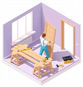 Vector Isometric Carpenter Worker At New Wooden Door Installation In The House. Worker In Blue Overa poster