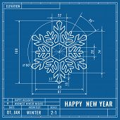 Snowflake As Technical Blueprint Drawing. Christmas Technical Concept. Mechanical Engineering Drawin poster