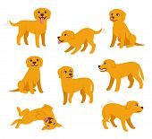 Cartoon Dog Set With Different Poses And Emotions. Dog Behavior, Body Language And Face Expressions. poster
