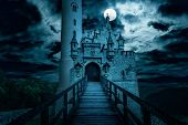 Lichtenstein Castle At Night, Germany. Old Spooky House In Full Moon. Creepy View Of Dark Mystery Ma poster