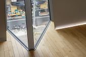 Inserted Curtain Wall Window Timber Floor. Detailed Joint Of Corner. Lighting Skirting Board. poster