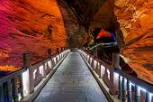 Bridge Inside The Stunningly Beautiful Huanglong Yellow Dragon Cave Called Also The Wonder Of The Wo poster