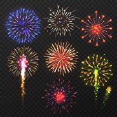 Realistic Fireworks. Carnival Multicolored Firework Explosion, Christmas Day Celebration Pyrotechnic poster