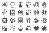 Laundry Icons. Dryer, Washing Machine And Dirt Shirt. Laundromat, Hand Washing, Soap Bubbles In Basi poster