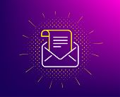 Mail Newsletter Line Icon. Halftone Pattern. Read Message Correspondence Sign. E-mail Symbol. Gradie poster