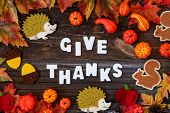 Colorful Autumn Decoration, Text Give Thanks, Wooden Background poster