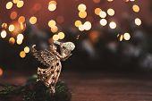 Christmas Holiday Background, Christmas Table Background With Decorated Christmas Tree And Garlands. poster